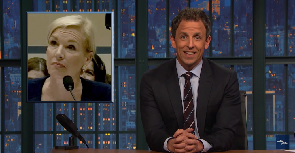 Seth Meyers Makes the Planned Parenthood Hearings Slightly Less Painful